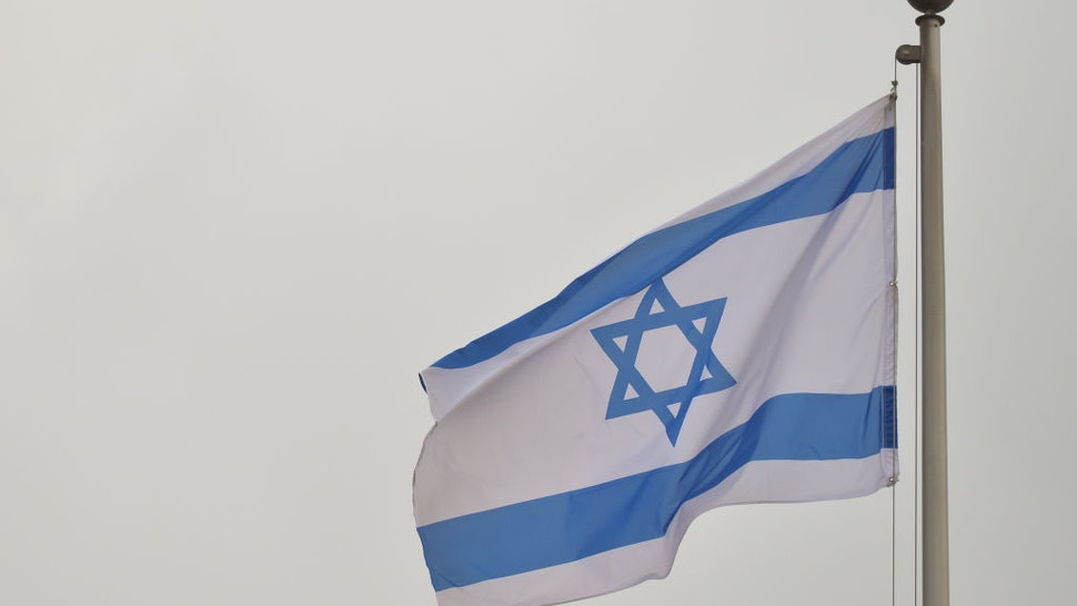An Israeli national flag seen in the Old Town in Jerusalem. On Tuesday, February 4, 2020, in Jerusalem, Israel.