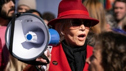 Actress and activist Jane Fonda speaks during a Fire Drill Friday's climate change rally outside the Los Angeles City Hall.