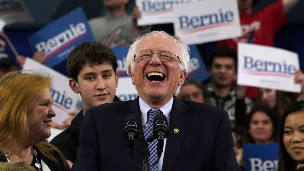 Democratic presidential hopeful Vermont Senator Bernie Sanders speaks at a Primary Night event at the SNHU Field House in Manchester, New Hampshire on February 11, 2020.
