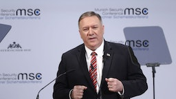Mike Pompeo, U.S. secretary of state, speaks during the Munich Security Conference at the Bayerischer Hof hotel in Munich, Germany, on Saturday, Feb. 15, 2020.