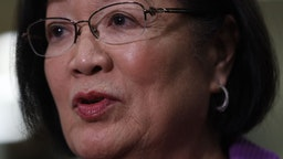 U.S. Mazie Hirono (D-HI) speaks to members of the media during a break of the Senate impeachment trial against President Trump at the U.S. Capitol January 23, 2020 in Washington, DC.