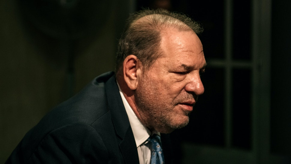 NEW YORK, NY - FEBRUARY 24: Movie producer Harvey Weinstein enters New York City Criminal Court on February 24, 2020 in New York City. Jury deliberations in the high-profile trial are believed to be nearing a close, with a verdict on Weinstein's numerous rape and sexual misconduct charges expected in the coming days. (Photo by Scott Heins/Getty Images)