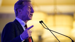 """Democratic presidential candidate Tom Steyer speaks at the South Carolina Democratic Party """"First in the South"""" dinner on February 24, 2020 in Charleston, South Carolina."""