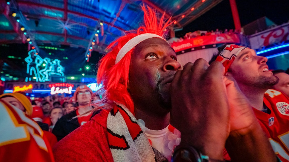 "A Chiefs fans cry""u2019s while watching the Chiefs take the lead at the Power and Light District as the Kansas City Chiefs take on the San Francisco 49ers in the Super Bowl on February 2, 2020 in Kansas City, Kansas."