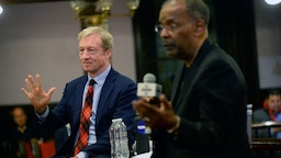 Democratic presidential candidate Tom Steyer attends A People's Town Hall hosted by SiriusXM Urban View's Joe Madison at Mother Emanuel Church on February 27, 2020 in Charleston, South Carolina.