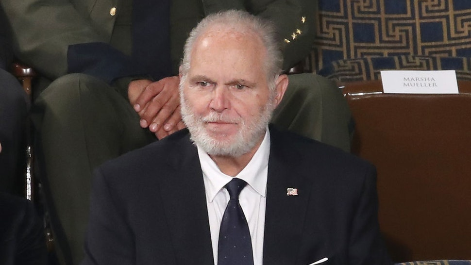 Radio personality Rush Limbaugh sits in the First Lady's box ahead of the State of the Union address in the chamber of the U.S. House of Representatives on February 04, 2020 in Washington, DC.