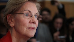 Democratic presidential candidate Sen. Elizabeth Warren (D-MA) speaks to the press following a rally at Rundlett Middle School on February 09, 2020 in Concord, New Hampshire