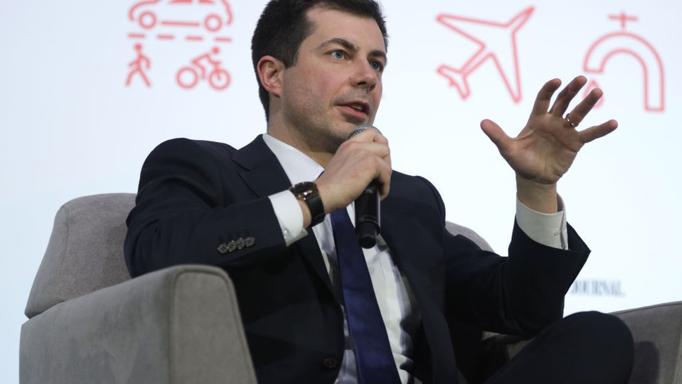 "Democratic presidential candidate former South Bend, Indiana Mayor Pete Buttigieg participates in a ""Moving America Forward: A Presidential Candidate Forum on Infrastructure, Jobs, and Building a Better America"" at University of Nevada February 16, 2020 in Las Vegas, Nevada."