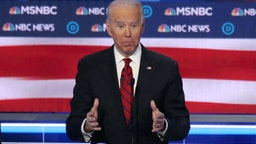 LAS VEGAS, NEVADA - FEBRUARY 19: Democratic presidential candidate former Vice President Joe Biden speaks during the Democratic presidential primary debate at Paris Las Vegas on February 19, 2020 in Las Vegas, Nevada. Six candidates qualified for the third Democratic presidential primary debate of 2020, which comes just days before the Nevada caucuses on February 22. (Photo by Mario Tama/Getty Images)