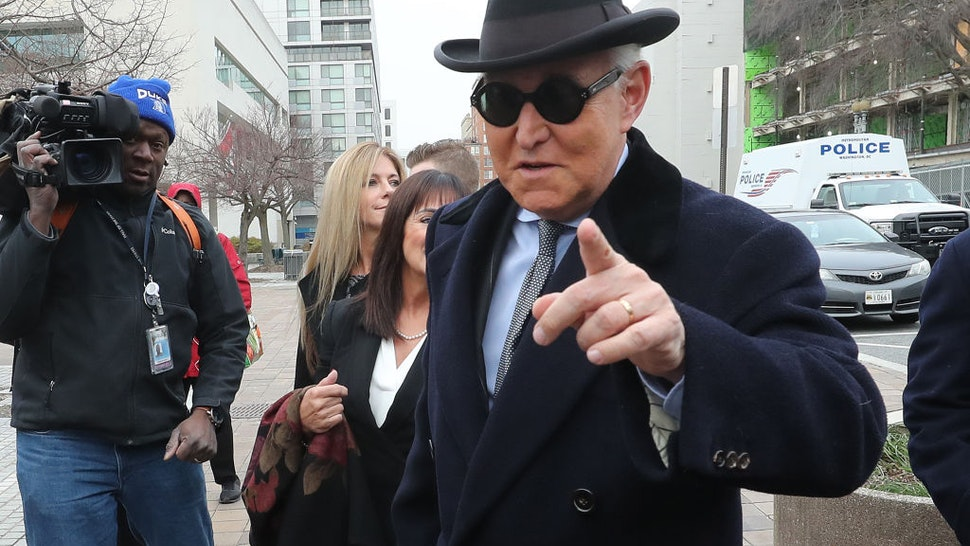 Former advisor to U.S. President Donald Trump, Roger Stone, arrives at the E. Barrett Prettyman United States Courthouse, on February 20, 2020 in Washington, DC.