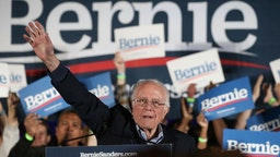 Democratic presidential candidate Sen. Bernie Sanders (I-VT) waves to supporters at a campaign rally for Sanders on February 21, 2020 in Las Vegas, Nevada.