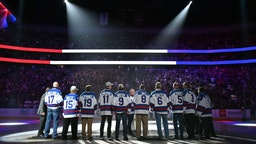 Members of the 1980 Team USA 'Miracle on Ice' team are honored prior to a game between the Vegas Golden Knights and the Florida Panthers at T-Mobile Arena on February 22, 2020 in Las Vegas, Nevada.