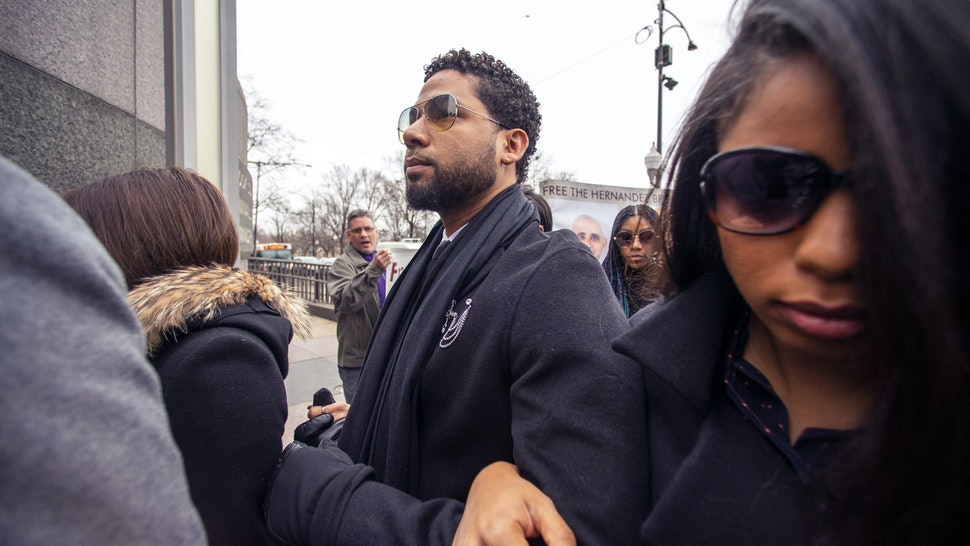 CHICAGO, ILLINOIS - FEBRUARY 24: Actor Jussie Smollett arrives at the Leighton Criminal Courthouse on February 24, 2020 in Chicago, Illinois. Smollett pleaded not guilty to charges of disorderly conduct in a new criminal case connected to allegations he staged a hate crime on himself. (Photo by Nuccio DiNuzzo/Getty Images)