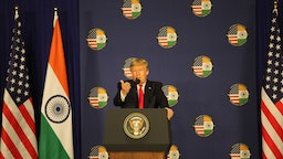 US President Donald Trump holds a press conference at the India and America summit meeting at Hyderabad House on February 25, 2020 in New Delhi, India.
