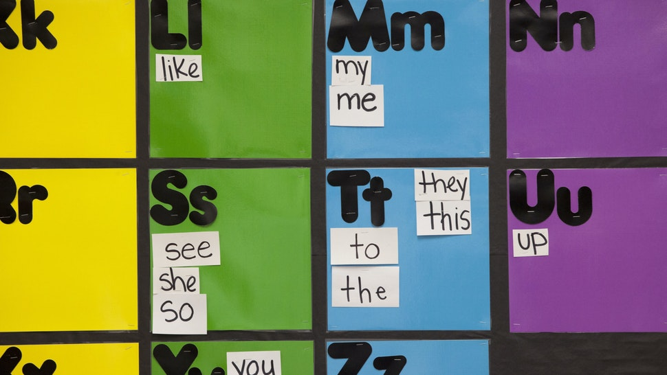 NEW ORLEANS, LA - JANUARY 16: The alphabet covers a bulletin board in a kindergarten class at Sylvanie Williams College Prep elementary school, on January 16, 2015 in New Orleans, Louisiana. New principal Krystal Hardy spends most of her time out of her office mentoring teachers and staff and spending time with the children. She is the face of the new type of principal. Fifty percent of the children here started the year below grade level in reading and math. The goal is to help them catch up and keep making progress. (Photo by Melanie Stetson Freeman/The Christian Science Monitor via Getty Images)