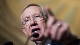 UNITED STATES - SEPTEMBER 27: Senate Minority Leader Harry Reid, D-Nev., speaks to the press about the continuing resolution in the Ohio Clock Corridor following the Senate Democrats' weekly policy lunch in the Capitol on Tuesday, Sept. 27, 2016. (Photo By Bill Clark/CQ Roll Call)