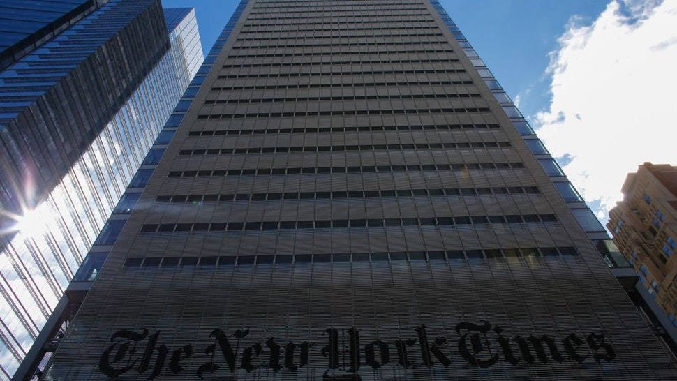 The New York Times Building is seen on February 26, 2017 in New York.