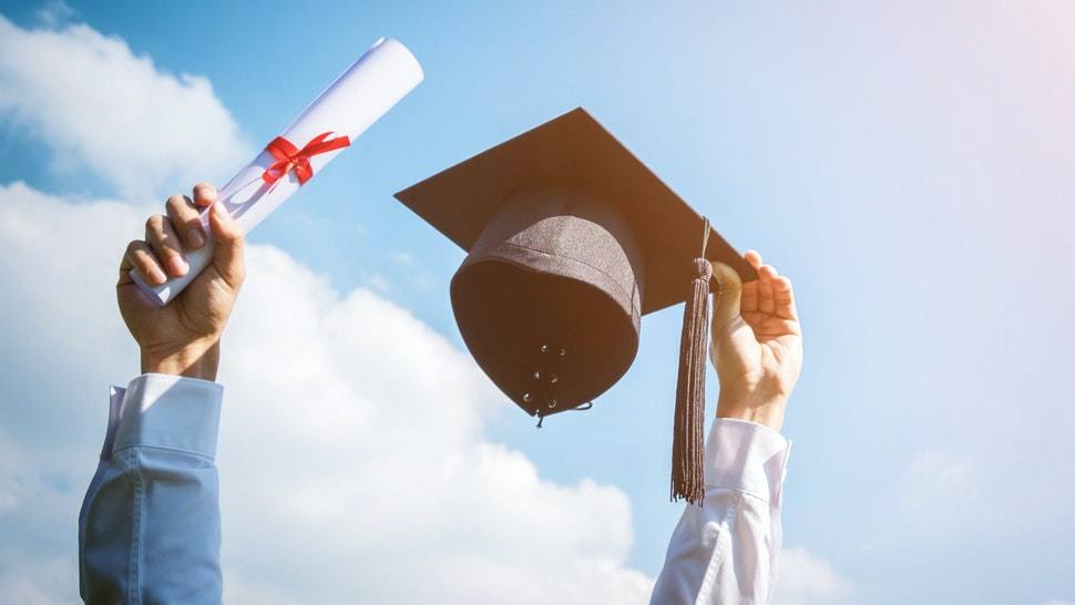 diploma and mortarboard