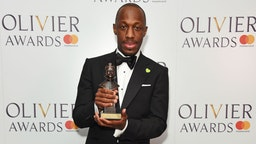 """Giles Terera, winner of the Best Actor in a Musical award for """"Hamilton"""", poses in the press room during The Olivier Awards with Mastercard at Royal Albert Hall on April 8, 2018 in London, England."""