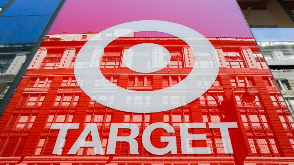"""The logo of Target Corporation """"TGT"""" is seen on one of its branch at middle Manhattan on May 21, 2018 in New York,"""