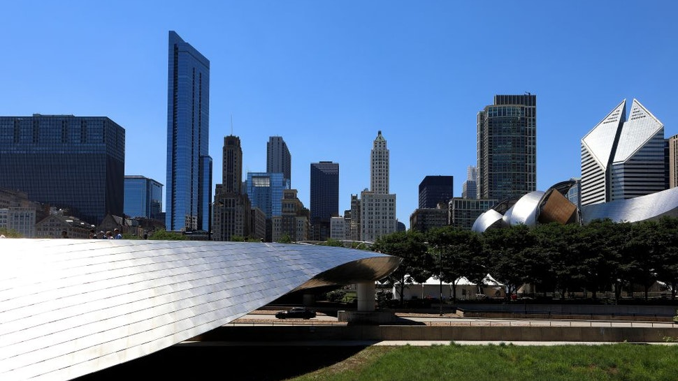 View looking West into Downtown Chicago, as photographed from architect Frank Gehry's BP Bridge in Millennium Park in Chicago, Illinois on June 23, 2018.