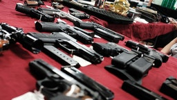 Guns stand for sale at a gun show on November 24, 2018 in Naples, Florida. According to recently released data from the U.S. centers for Disease Control and Prevention, suicides and homicides involving guns have been increasing in America. The report, which faced a large backlash from the gun rights lobby, showed that during the time period between 2015-2016, there were 27,394 homicides involving guns and 44,955 gun suicides in America. (Photo by Spencer Platt/Getty Images)