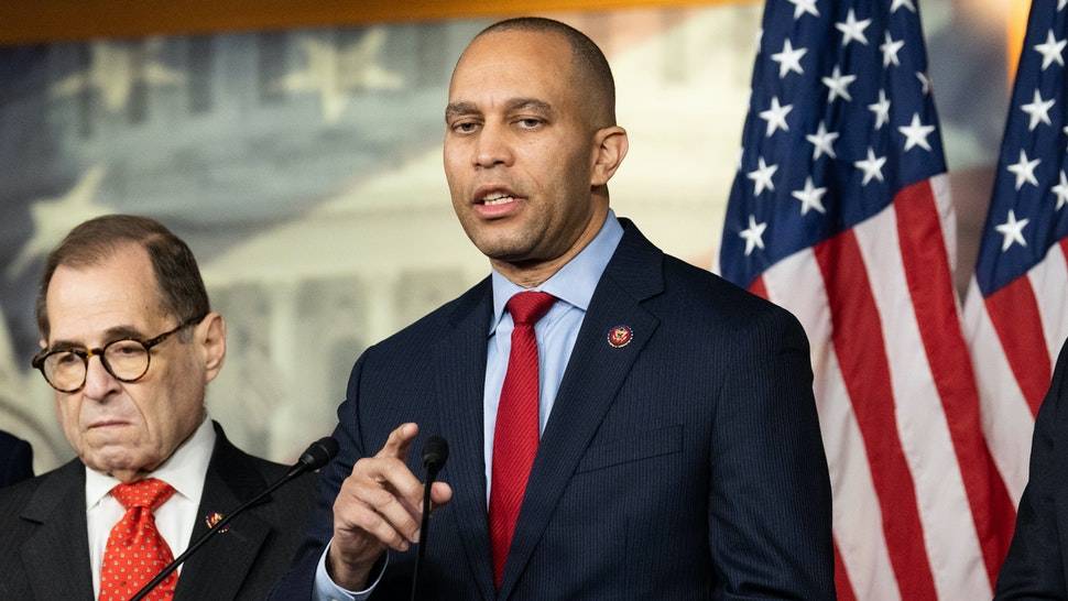 WASHINGTON, UNITED STATES - JANUARY 15 2020: U.S. Representative Hakeem Jeffries (D-NY) speaks at the announcement of the managers from the House for the impeachment trial in the Senate in Washington, DC.