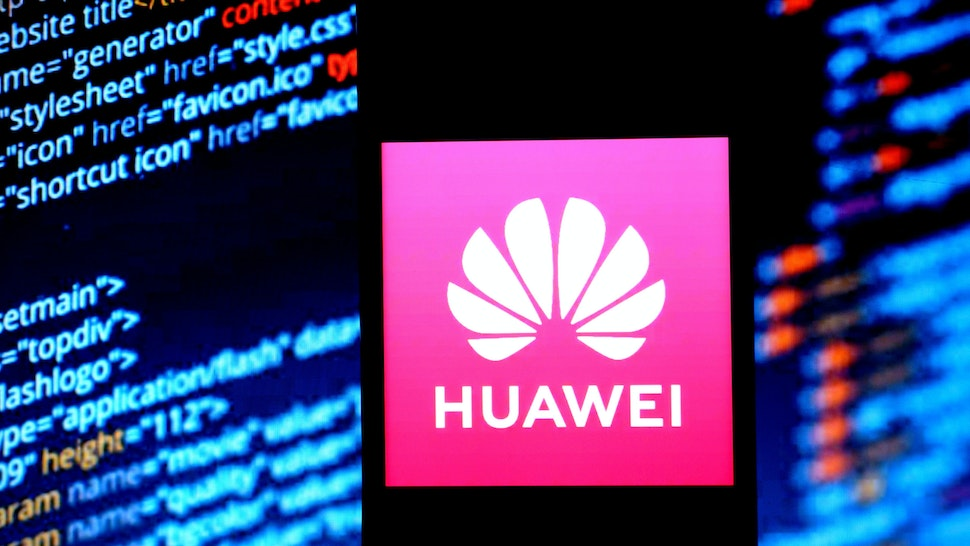 INDIA - 2020/02/09: In this photo illustration a telecommunications equipment company Huawei logo seen displayed on a smartphone.