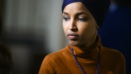 UNITED STATES - FEBRUARY 11: Rep. Ilhan Omar, D-Minn., leaves a meeting of the House Democratic Caucus in the Capitol on Tuesday, February 11, 2020.