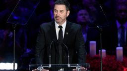 LOS ANGELES, CALIFORNIA - FEBRUARY 24: TV personality Jimmy Kimmel speaks during The Celebration of Life for Kobe & Gianna Bryant at Staples Center on February 24, 2020 in Los Angeles, California.