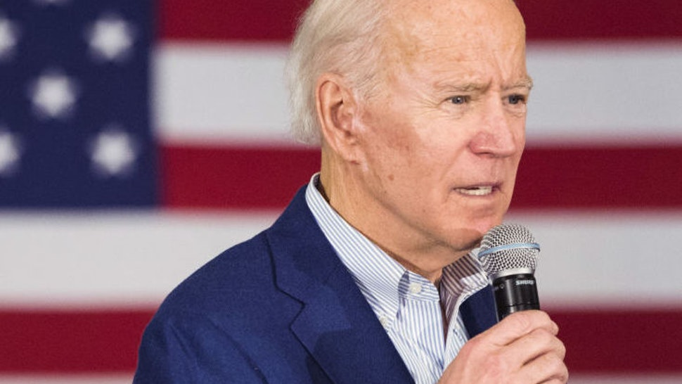 Former Vice President Joe Biden, 2020 Democratic presidential candidate, speaks during a Get Out The Vote event in Gilford, New Hampshire, U.S., on Monday, Feb. 10, 2020. Biden's campaign is determined to fight past Tuesday's New Hampshire primary, a top campaign official said Monday, in the face of low poll numbers in the state.