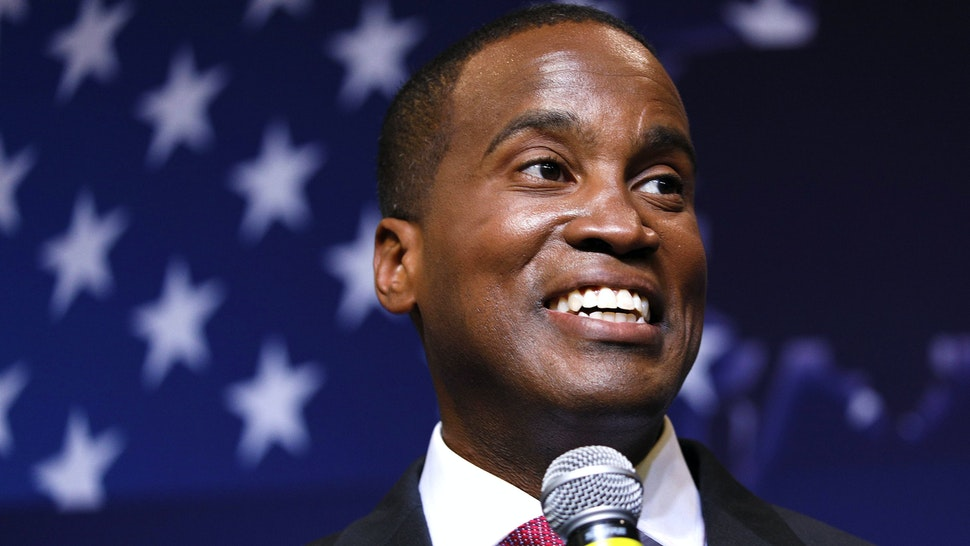 DETROIT, MI - AUGUST 7: John James, Michigan GOP Senate candidate, speaks at an election night event after winning his primary election at his business, James Group International August 7, 2018 in Detroit, Michigan. James, who has President Donald Trump's endorsement, will face Democrat incumbent Senator Debbie Stabenow (D-MI) in November.