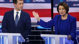 LAS VEGAS, NEVADA - FEBRUARY 19: Democratic presidential candidate former South Bend, Indiana Mayor Pete Buttigieg (L) and Sen. Amy Klobuchar (D-MN) participate in the Democratic presidential primary debate at Paris Las Vegas on February 19, 2020 in Las Vegas, Nevada. Six candidates qualified for the third Democratic presidential primary debate of 2020, which comes just days before the Nevada caucuses on February 22.