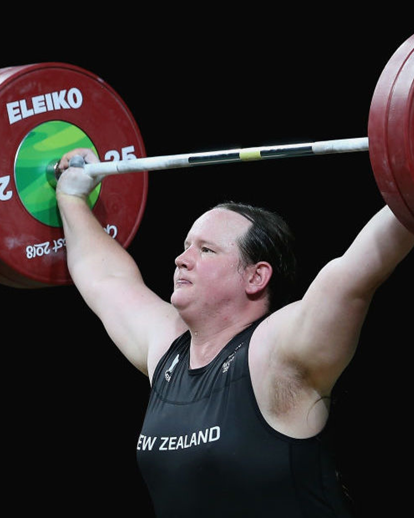Laurel Hubbard of New Zealand competes in the Women's 90kg Final during Weightlifting on day five of the Gold Coast 2018 Commonwealth Games at Carrara Sports and Leisure Centre on April 9, 2018 on the Gold Coast, Australia. (Photo by Alex Pantling/Getty Images)
