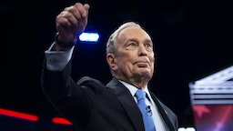 UNITED STATES - FEBRUARY 19: Democratic presidential candidate Mike Bloomberg arrives on stage at the Democratic Presidential Debate hosted by NBC News and MSNBC with The Nevada Independent at the Paris Las Vegas Hotel in Las Vegas on Wednesday, Feb. 19, 2020.
