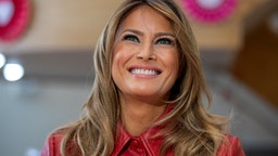 BETHESDA, MARYLAND - FEBRUARY 14: First Lady Melania Trump visits the Children's Inn at National Institutes of Health on Valentine's Day on on February 14, 2020 in Bethesda, Maryland.