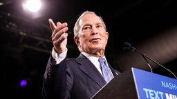 Democratic presidential candidate former New York City Mayor Mike Bloomberg delivers remarks during a campaign rally on February 12, 2020 in Nashville, Tennessee. Bloomberg is holding the rally to mark the beginning of early voting in Tennessee ahead of the Super Tuesday primary on March 3rd. (Photo by Brett Carlsen/Getty Images)