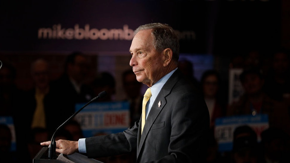 Democratic presidential candidate Mike Bloomberg holds a campaign rally on February 4, 2020 in Detroit, Michigan. (Photo by Bill Pugliano/Getty Images)