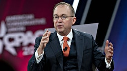 Mick Mulvaney, acting White House chief of staff, speaks during a discussion at the Conservative Political Action Conference (CPAC) in National Harbor, Maryland, U.S., on Friday, Feb. 28, 2020. President Trump will address this years CPAC after seeking to close ranks within his administration about the threat posed by the coronavirus and how the U.S. government plans to stop its spread following mixed messages that rattled Wall Street. Photographer: Andrew Harrer/Bloomberg