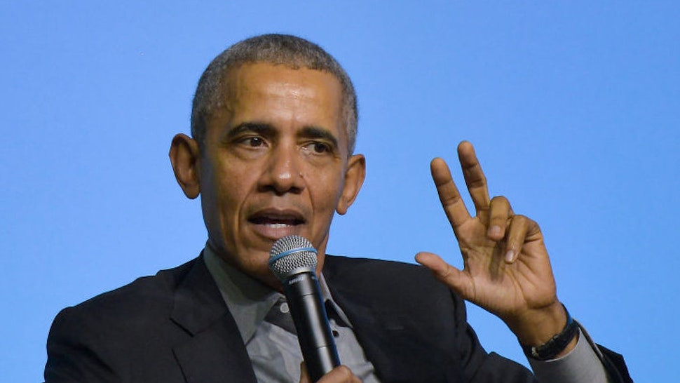 Former U.S. President Barack Obama speaks on the stage as he attends an Obama Foundation event in Kuala Lumpur, Malaysia, 13 December 2019. Obama and his wife Michelle are in Kuala Lumpur for the inaugural Leaders: Asia-Pacific conference, focused on promoting women's education in the region
