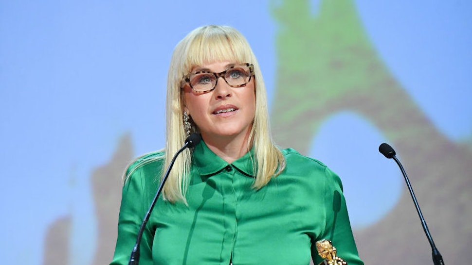 Patricia Arquette speaks after being awarded 'Outstanding Actress in a Long Fiction Program' during the closing ceremony of the 59th Monte Carlo TV Festival on June 18, 2019 in Monte-Carlo, Monaco. (Photo by Stephane Cardinale - Corbis/Corbis via Getty Images)