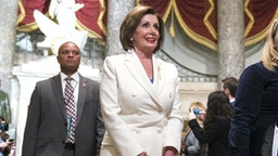 WASHINGTON, DC - FEBRUARY 04: House Speaker Rep. Nancy Pelosi (D-CA) walks through Statuary Hall to the House Chamber for the State of the Union on February 4, 2020 in Washington, DC. President Trump delivers his third State of the Union to the nation the night before the U.S. Senate is set to vote in his impeachment trial.