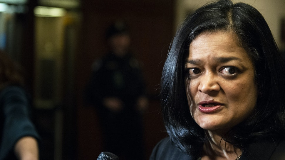 UNITED STATES - DECEMBER 13: Rep. Pramila Jayapal, D-Wash., speaks with the media after the House Judiciary Committee passed two articles of impeachment against President Donald J. Trump on Friday Dec. 13, 2019.