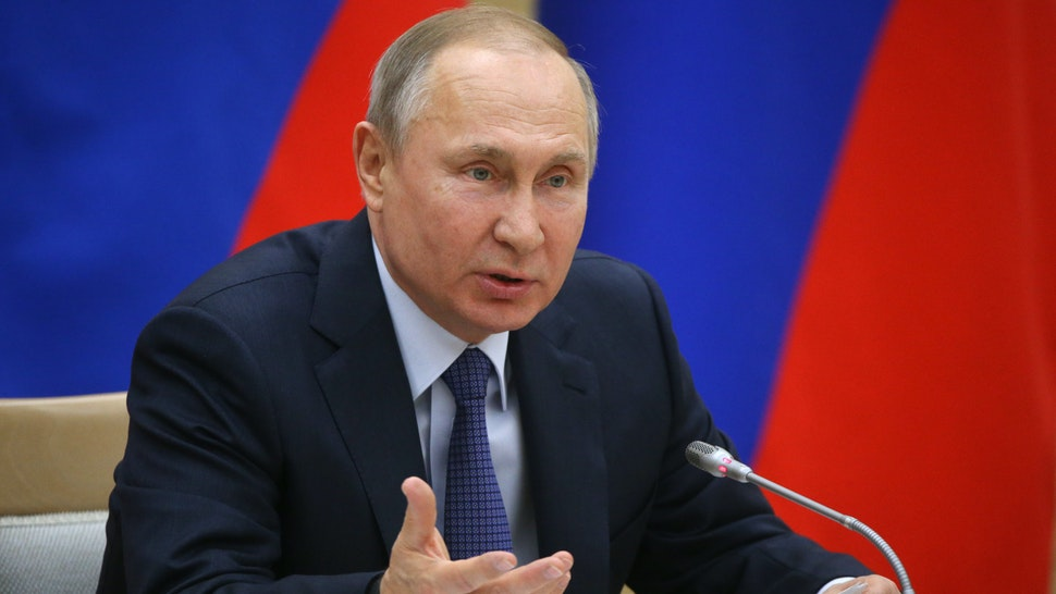 MOSCOW, RUSSIA - FEBRUARY 13: (RUSSIA OUT) Russian President Vladimir Putin speaks during his meeting with a group on the constitution's changes at Novo-Ogaryovo State residence outside of Moscow on February 13, 2020 in Russia. A constitutional referendum will be held in Russia by April 2020.