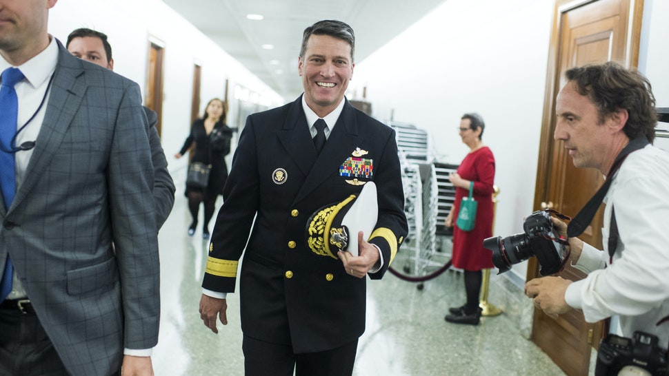 UNITED STATES - APRIL 24: Rear Adm. Ronny Jackson, nominee for Veterans Affairs secretary, leaves Dirksen Building after a meeting on Capitol Hill with Sen. Jerry Moran, R-Kan., on April 24, 2018.