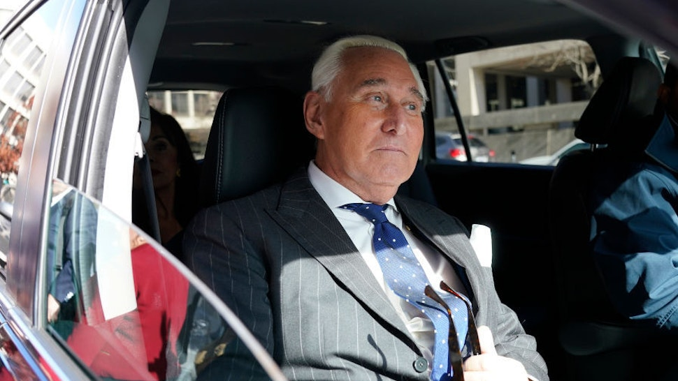 Former advisor to U.S. President Donald Trump, Roger Stone, departs the E. Barrett Prettyman United States Courthouse after being found guilty of obstructing a congressional investigation into Russia's interference in the 2016 election on November 15, 2019 in Washington, DC. Stone faced seven felony charges and was found guilty on all counts. (Photo by Win McNamee/Getty Images)
