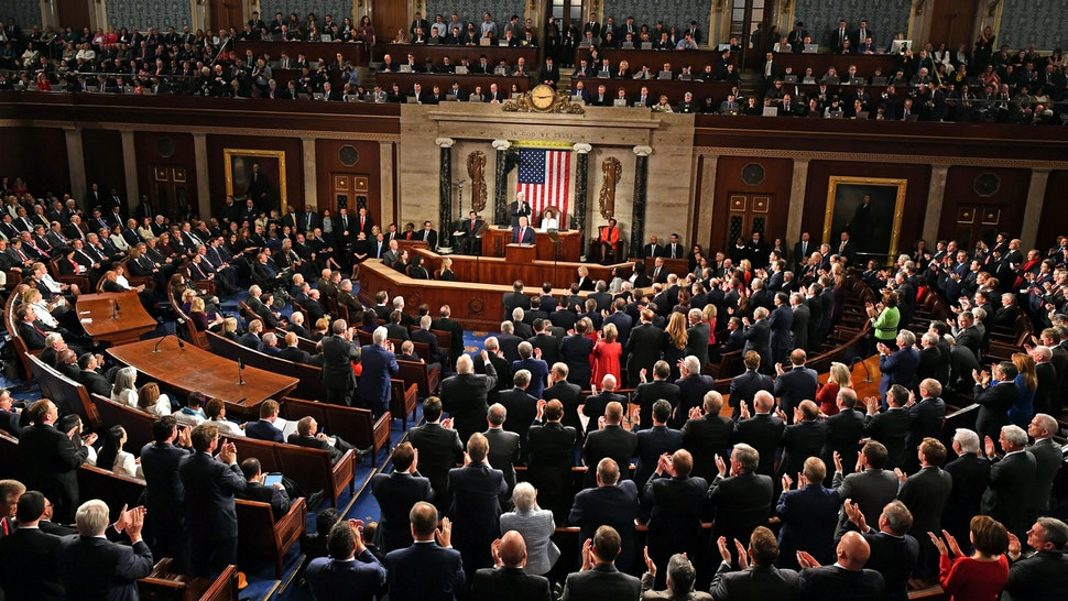 US President Donald Trump acknowledges the audience before delivering his State of the Union address at the US Capitol in Washington, DC, on February 4, 2020.
