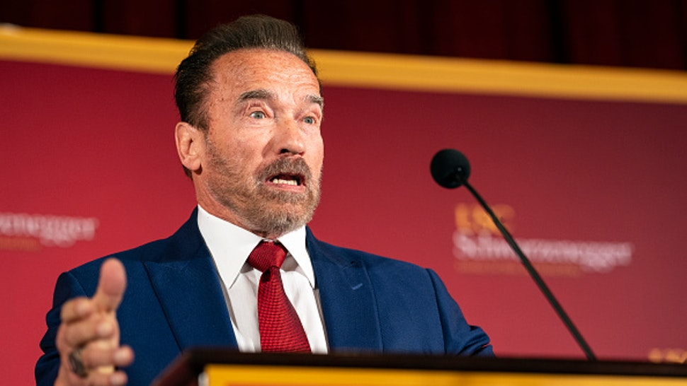 LOS ANGELES, UNITED STATES - FEBRUARY 13, 2020: Former Gov. Arnold Schwarzenegger speaks during a Homelessness Symposium at USC in Los Angeles. The event was held at the USC Schwarzenegger Institute and examined solutions to homelessness in California.-