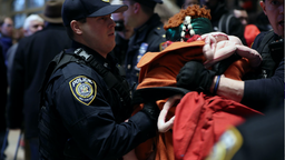 Thousands of protesters flocked to Grand Central Terminal and flowed out into Midtown's streets during rush hour Friday to protest increased policing and rising fares in New York City's subways at Grand Central Terminal in New York on January 31, 2020.