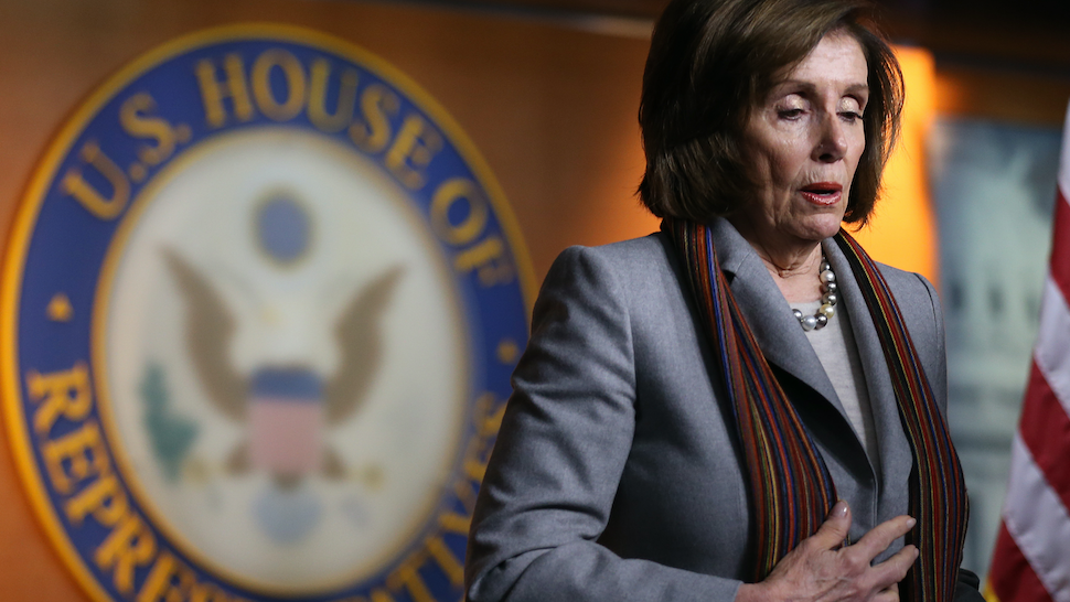 WASHINGTON, DC - JANUARY 29: Speaker of the House Nancy Pelosi (D-CA) stands at a news conference unveiling House Democrats' new infrastructure framework at the U.S. Capitol on January 29, 2020 in Washington, DC. The five-year, $760 billion infrastructure plan would rebuild airports, highways, bridges, and other infrastructure.